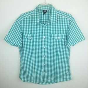 H&M Checkered Teal Green White Short Sleeve Shirt